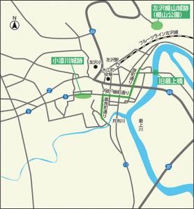 最上川の流通・往来及び左沢町場の景観地図
