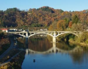 最上川と旧最上橋、楯山